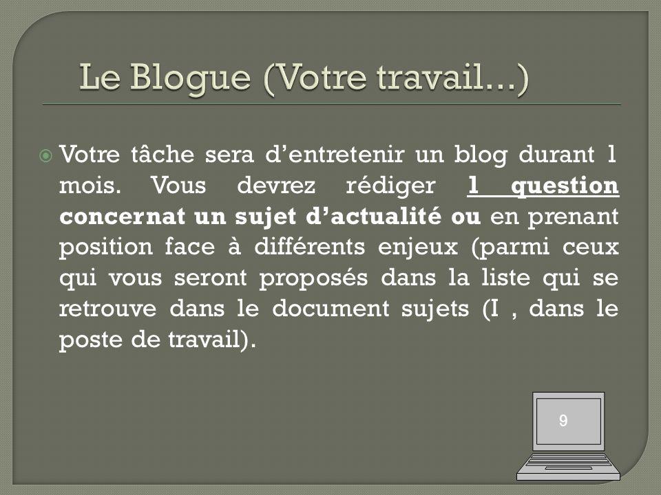  Votre tâche sera d'entretenir un blog durant 1 mois.