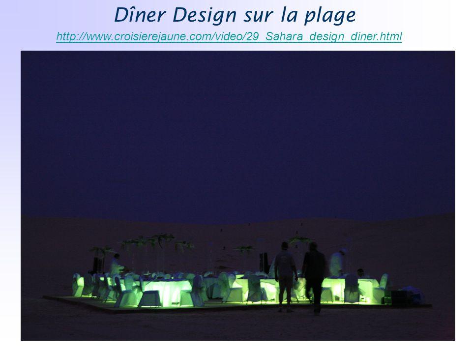 Dîner Design sur la plage http://www.croisierejaune.com/video/29_Sahara_design_diner.html