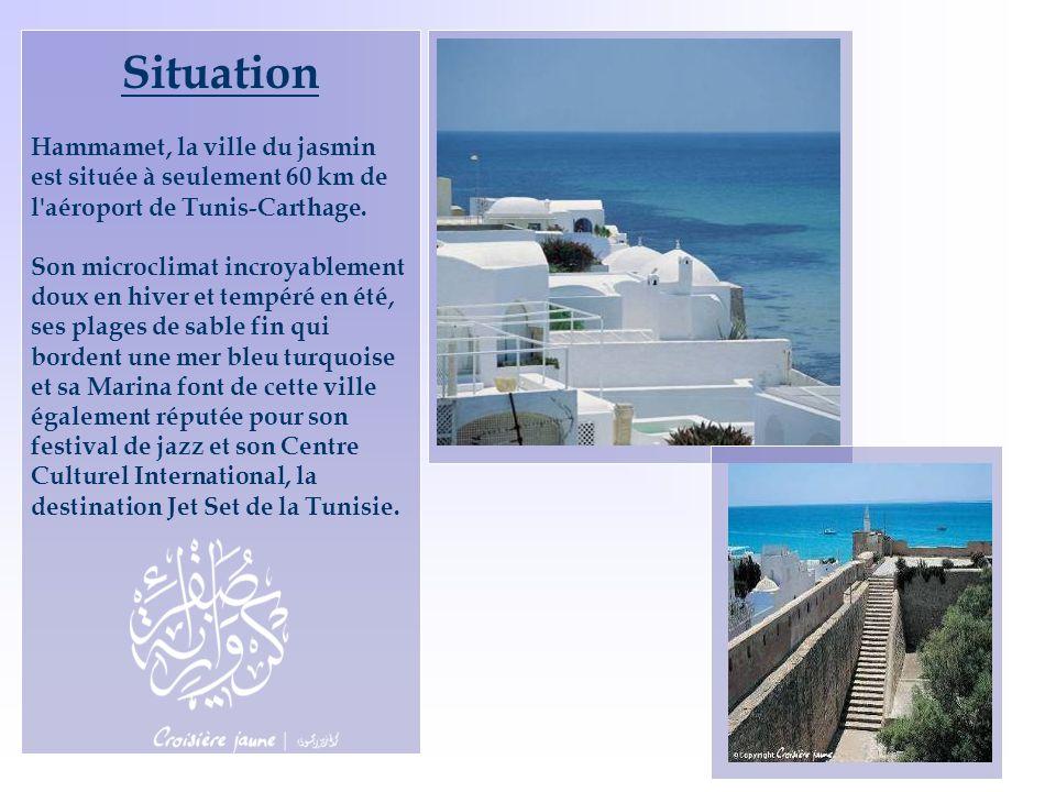 Situation Hammamet, la ville du jasmin est située à seulement 60 km de l'aéroport de Tunis-Carthage. Son microclimat incroyablement doux en hiver et t