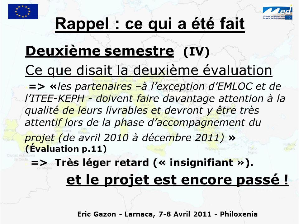Eric Gazon - Larnaca, 7-8 Avril 2011 - Philoxenia Rappel : ce qui a été fait Deuxième semestre (IV) Ce que disait la deuxième évaluation => «les partenaires –à l'exception d'EMLOC et de l'ITEE-KEPH - doivent faire davantage attention à la qualité de leurs livrables et devront y être très attentif lors de la phase d'accompagnement du projet (de avril 2010 à décembre 2011) » (Évaluation p.11) => Très léger retard (« insignifiant »).