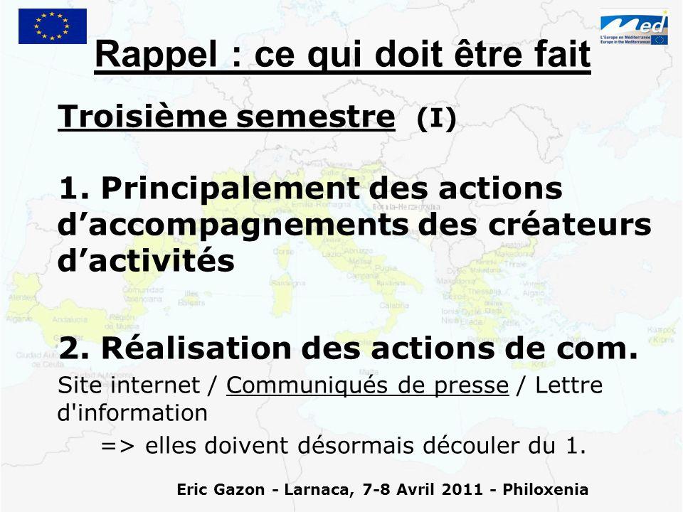 Eric Gazon - Larnaca, 7-8 Avril 2011 - Philoxenia Rappel : ce qui doit être fait Troisième semestre (I) 1.
