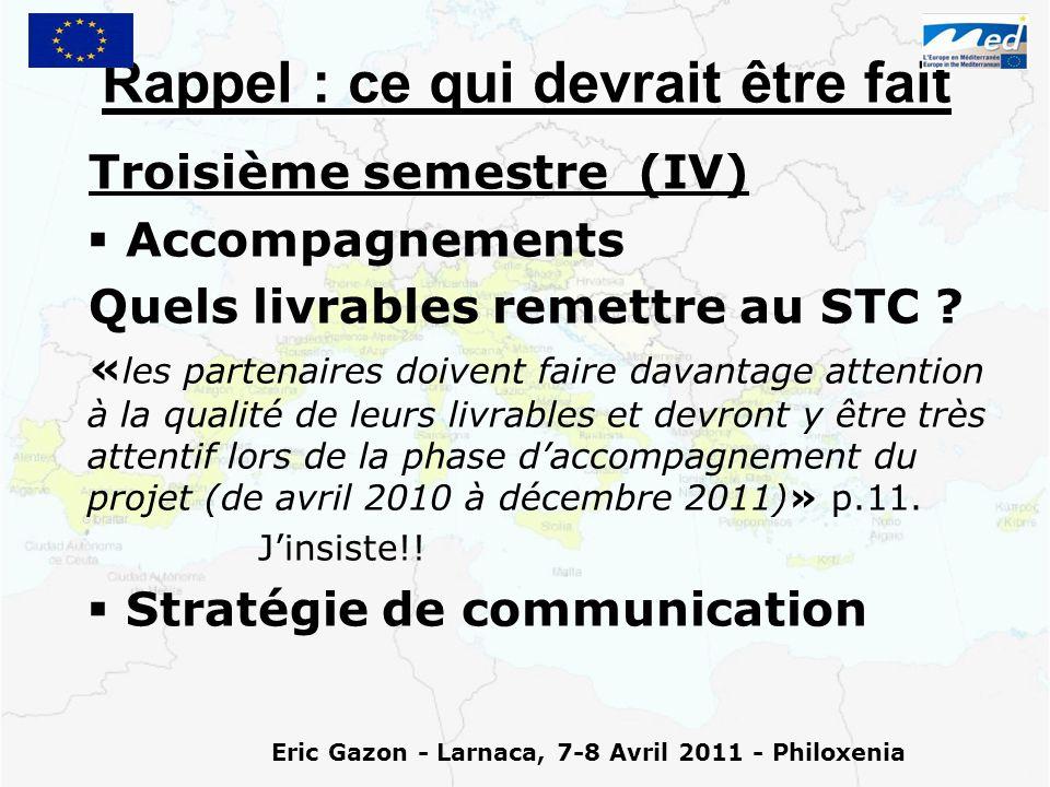 Eric Gazon - Larnaca, 7-8 Avril 2011 - Philoxenia Rappel : ce qui devrait être fait Troisième semestre (IV)   Accompagnements Quels livrables remettre au STC .