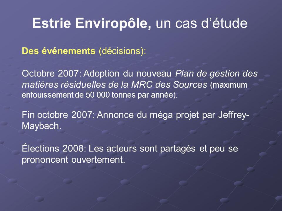 Estrie Enviropôle, un cas d'étude Des événements (décisions): Octobre 2007: Adoption du nouveau Plan de gestion des matières résiduelles de la MRC des Sources (maximum enfouissement de 50 000 tonnes par année).