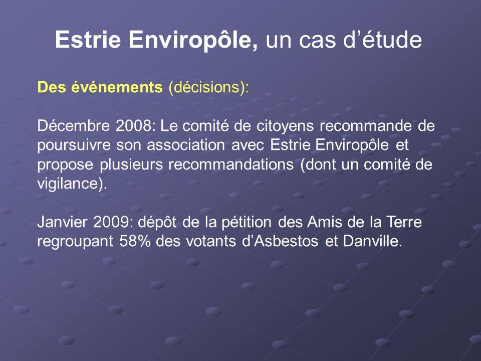 Estrie Enviropôle, un cas d'étude Des événements (décisions): Décembre 2008: Le comité de citoyens recommande de poursuivre son association avec Estrie Enviropôle et propose plusieurs recommandations (dont un comité de vigilance).