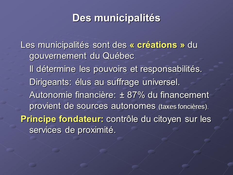 Des municipalités Les municipalités sont des « créations » du gouvernement du Québec Il détermine les pouvoirs et responsabilités.