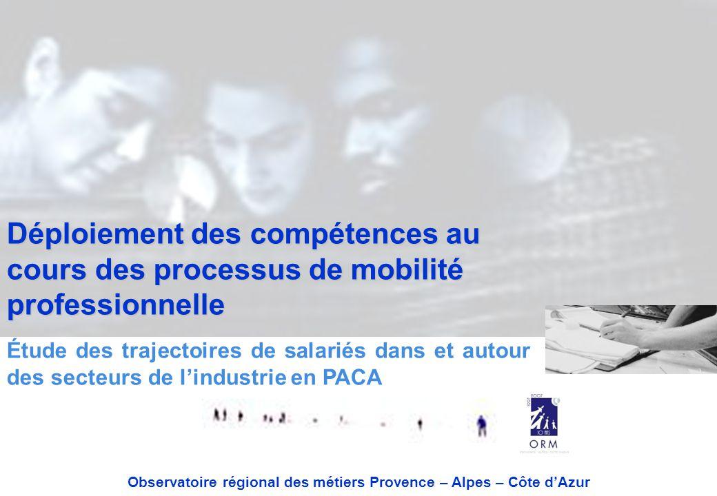 Déploiement des compétences au cours des processus de mobilité professionnelle Étude des trajectoires de salariés dans et autour des secteurs de l'industrie en PACA Observatoire régional des métiers Provence – Alpes – Côte d'Azur