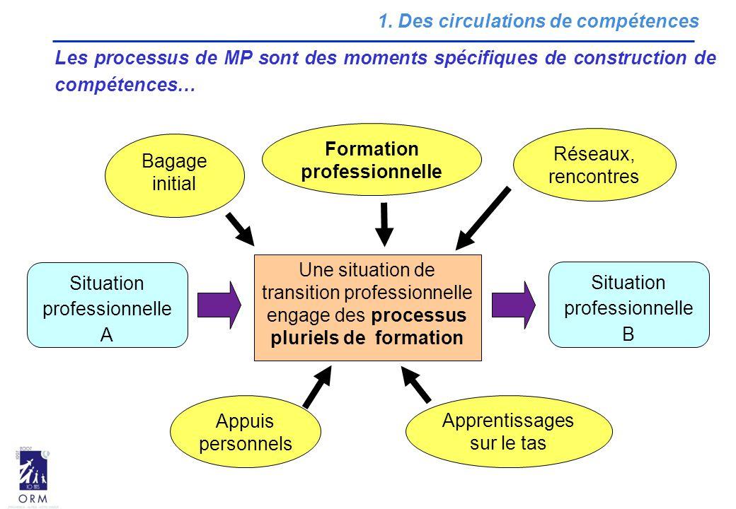 1. Des circulations de compétences Les processus de MP sont des moments spécifiques de construction de compétences… Une situation de transition profes