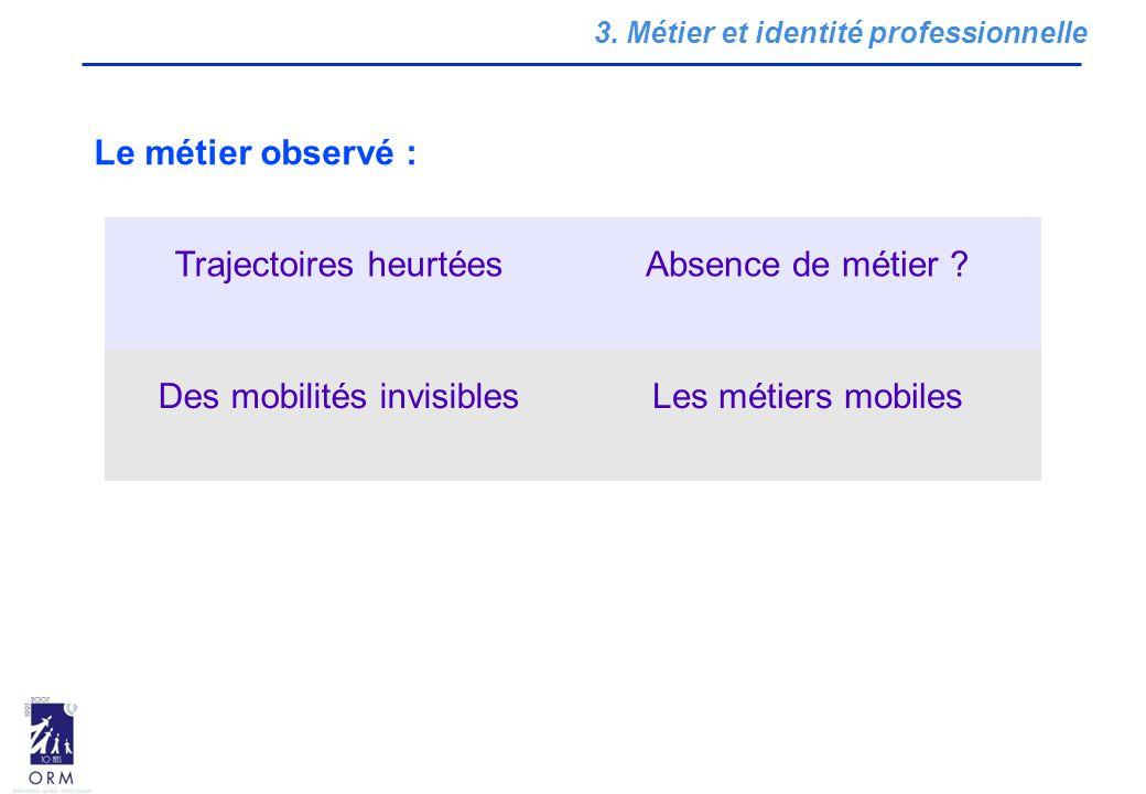 3.Métier et identité professionnelle Trajectoires heurtéesAbsence de métier .