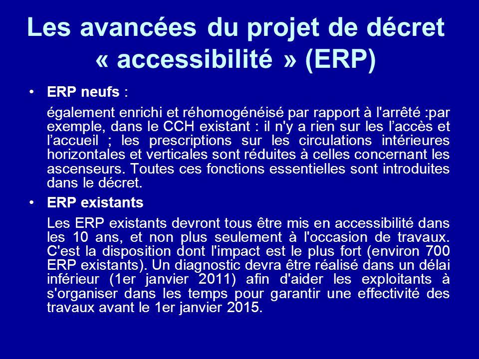 ERP neufs : également enrichi et réhomogénéisé par rapport à l arrêté :par exemple, dans le CCH existant : il n y a rien sur les l'accès et l'accueil ; les prescriptions sur les circulations intérieures horizontales et verticales sont réduites à celles concernant les ascenseurs.