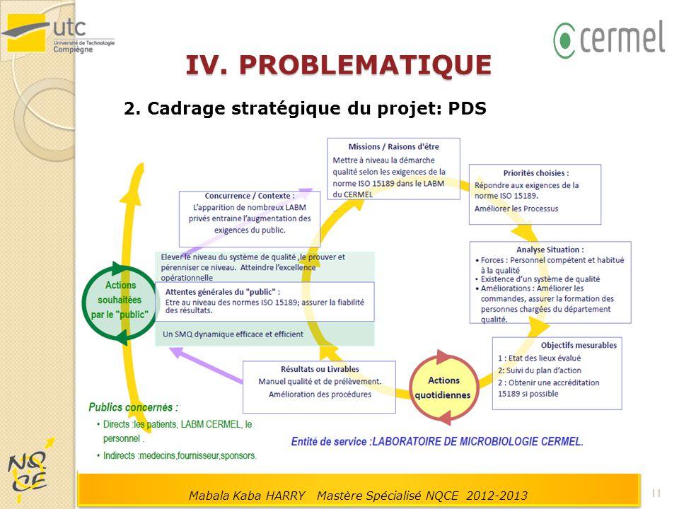 IV. PROBLEMATIQUE 2. Cadrage stratégique du projet: PDS 11 Mabala Kaba HARRY Mastère Spécialisé NQCE 2012-2013