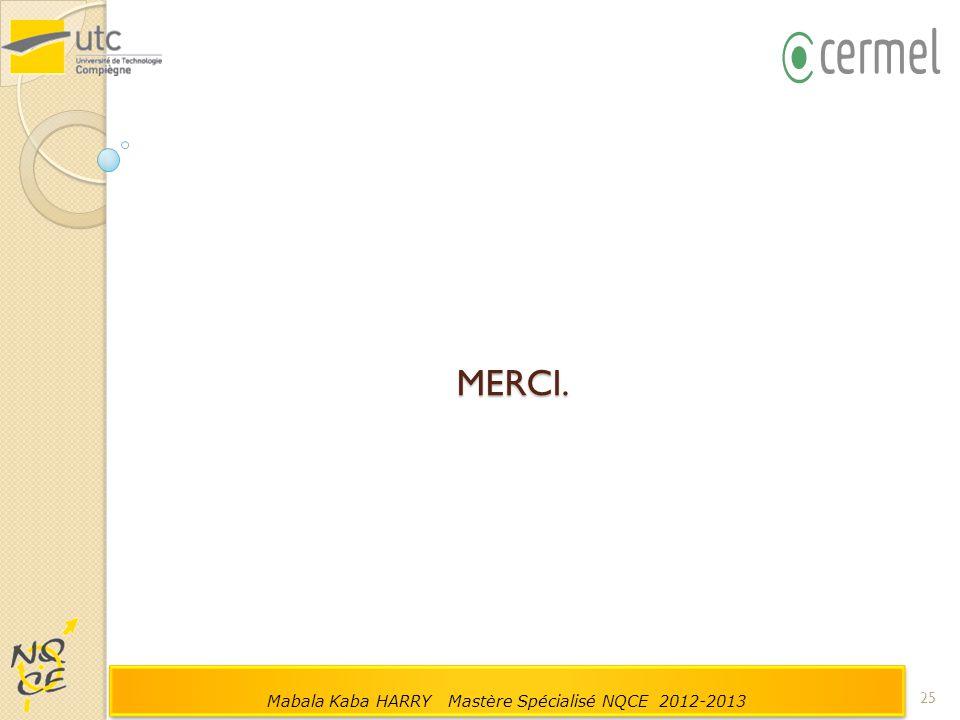MERCI. 25 Mabala Kaba HARRY Mastère Spécialisé NQCE 2012-2013