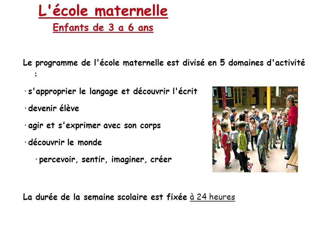 L'école maternelle Enfants de 3 a 6 ans Le programme de l'école maternelle est divisé en 5 domaines d'activité : ·s'approprier le langage et découvrir