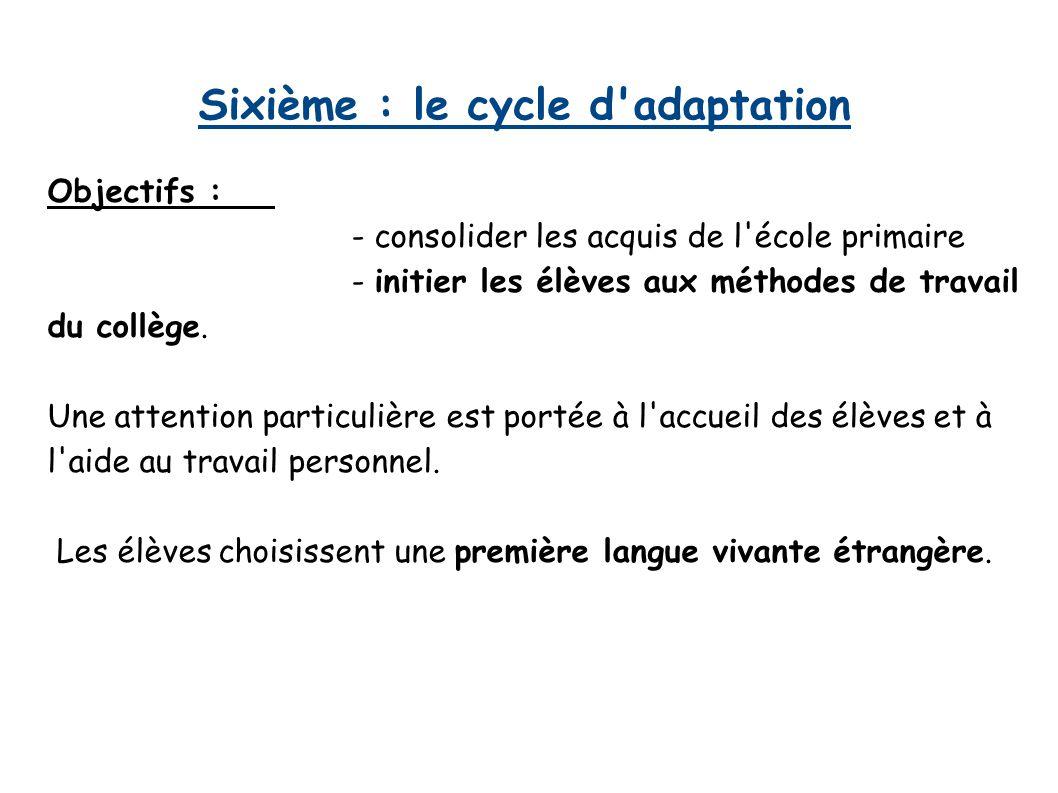 Sixième : le cycle d'adaptation Objectifs : - consolider les acquis de l'école primaire - initier les élèves aux méthodes de travail du collège. Une a