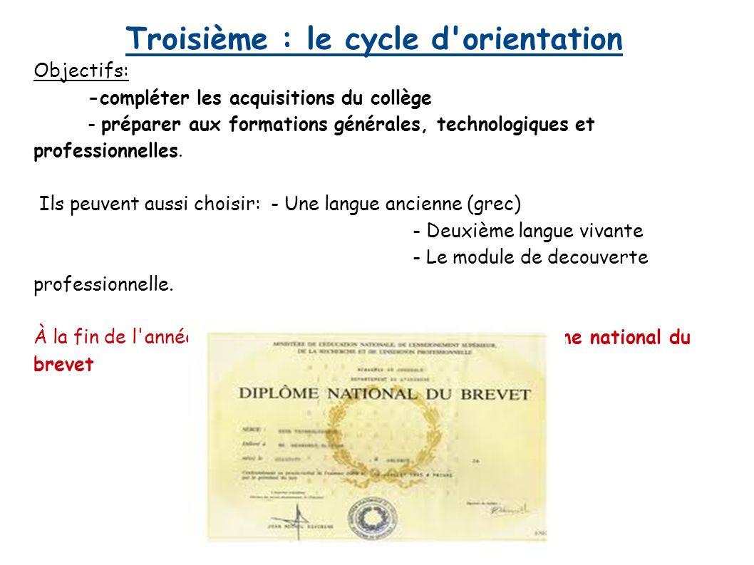 Troisième : le cycle d'orientation Objectifs: -compléter les acquisitions du collège - préparer aux formations générales, technologiques et profession