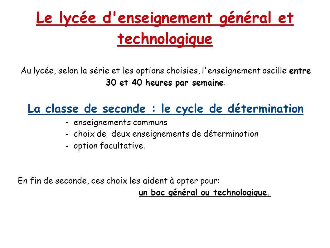 Le lycée d'enseignement général et technologique Au lycée, selon la série et les options choisies, l'enseignement oscille entre 30 et 40 heures par se