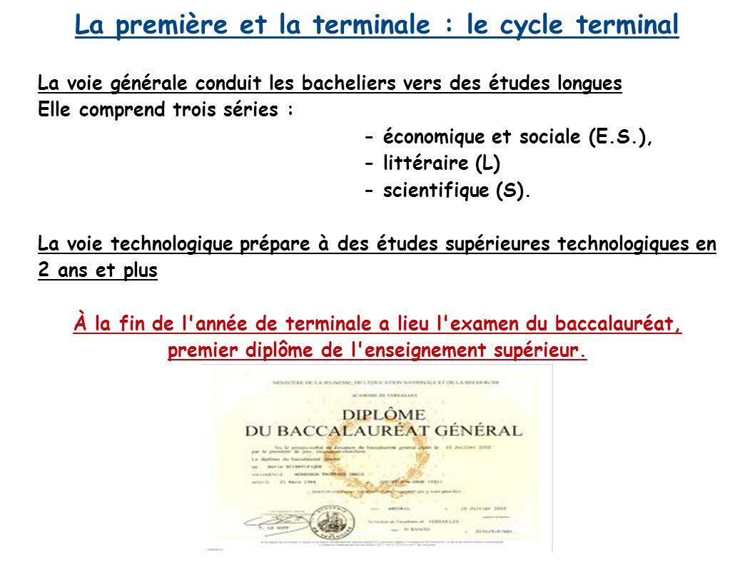 La première et la terminale : le cycle terminal La voie générale conduit les bacheliers vers des études longues Elle comprend trois séries : - économi