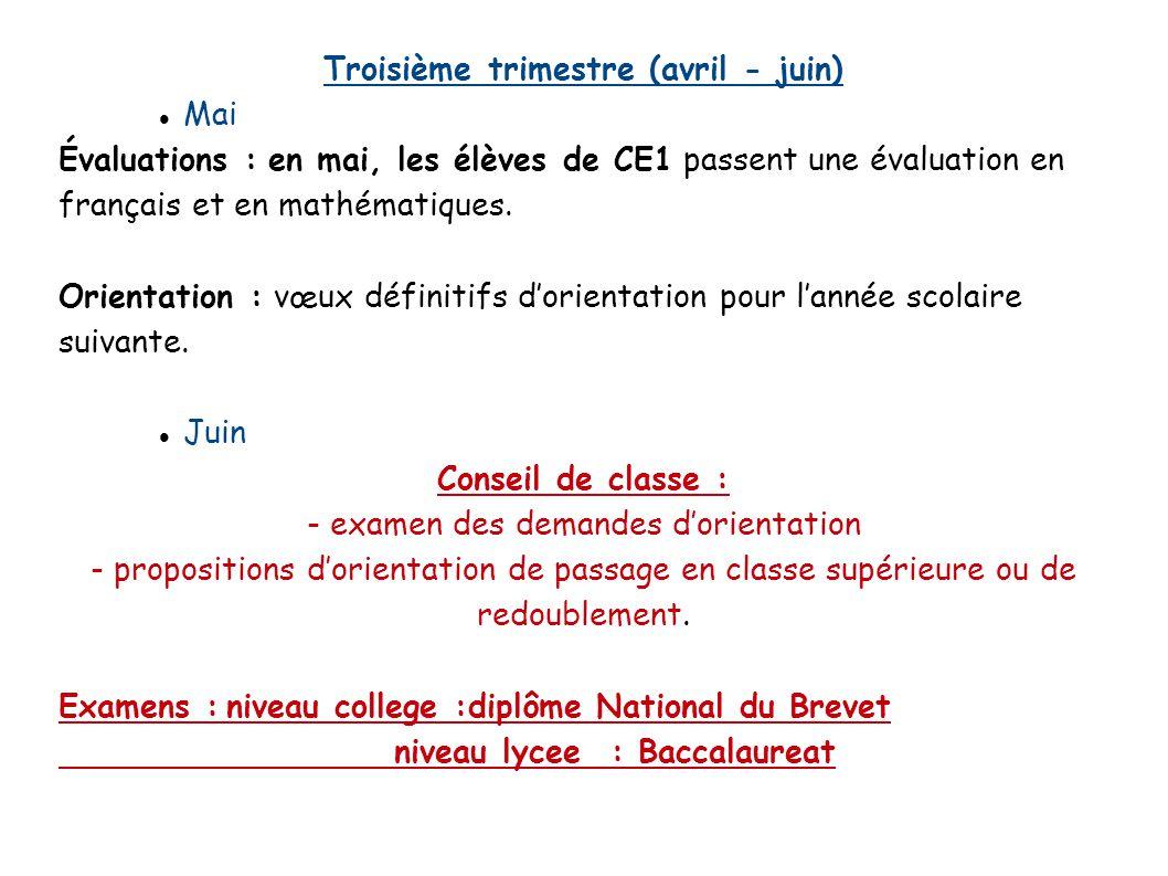 Troisième trimestre (avril - juin) Mai Évaluations : en mai, les élèves de CE1 passent une évaluation en français et en mathématiques. Orientation : v
