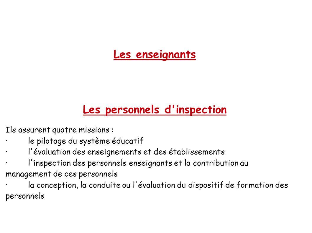 Les enseignants Les personnels d'inspection Ils assurent quatre missions : ·le pilotage du système éducatif ·l'évaluation des enseignements et des éta