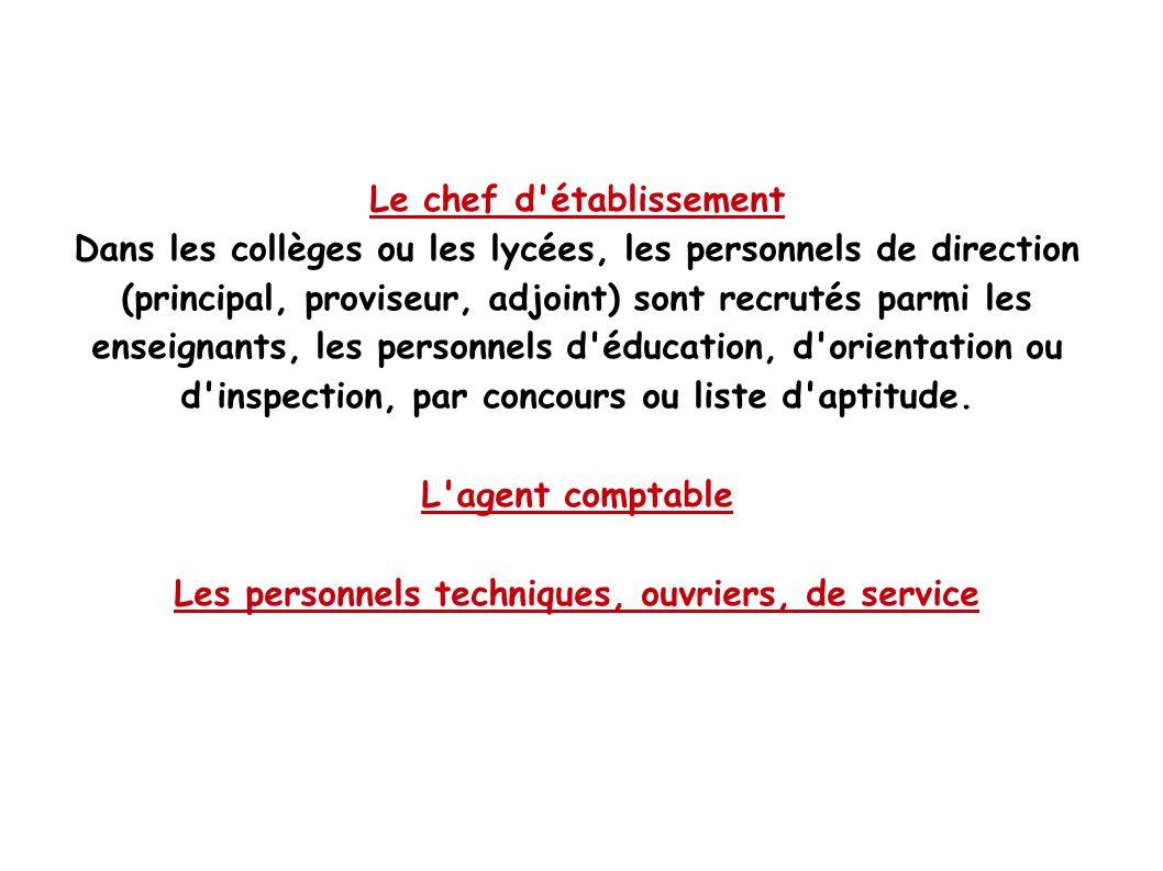 Le chef d'établissement Dans les collèges ou les lycées, les personnels de direction (principal, proviseur, adjoint) sont recrutés parmi les enseignan