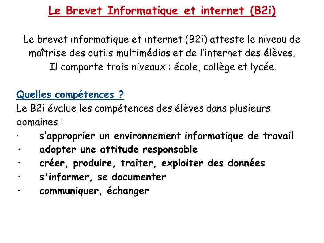 Le Brevet Informatique et internet (B2i) Le brevet informatique et internet (B2i) atteste le niveau de maîtrise des outils multimédias et de l'interne