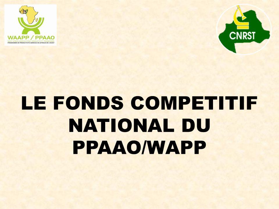 PROGRAMME DE PRODUCTIVITE AGRICOLE EN AFRIQUE DE L'OUEST (PPAAO/WAAPP)  PPAAO/WAAPP : Programme de la Communauté Economique des Etats de l'Afrique de l'Ouest (CEDEAO),  Financé par la Banque Mondiale sur 2 phases de 5 ans,  Coordonné au plan régional par le CORAF/WECARD,  Objectif : Générer et diffuser dans les pays participants, de nouvelles technologies dans les domaines prioritaires qui sont en adéquation avec ceux de la région, pour une intensification durable des productions agricoles