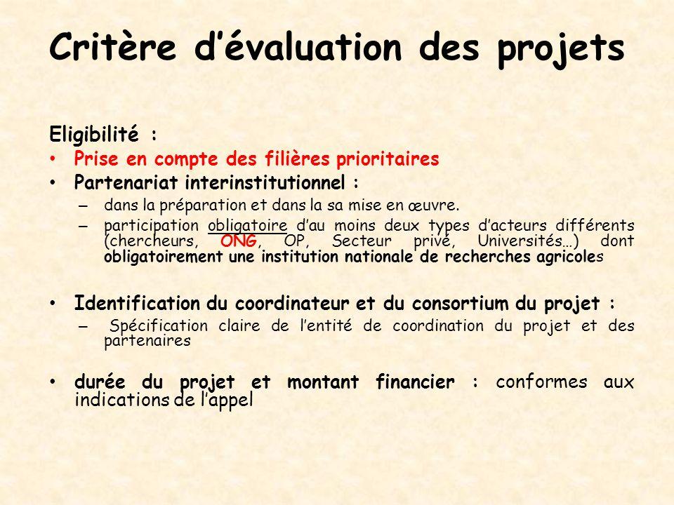 Critère d'évaluation des projets Eligibilité : Prise en compte des filières prioritaires Partenariat interinstitutionnel : – dans la préparation et da