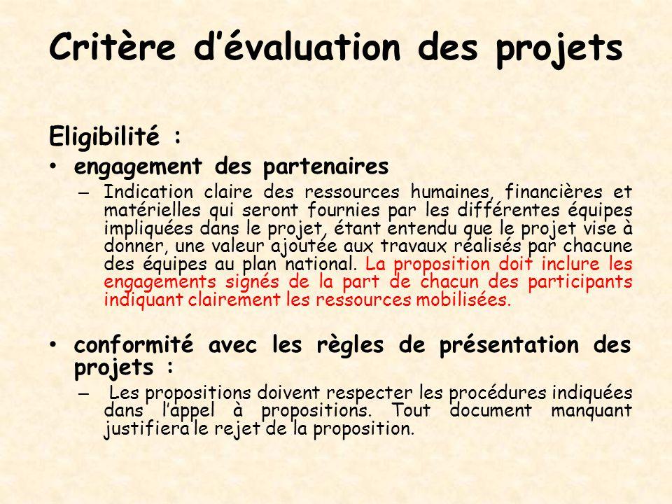 Critère d'évaluation des projets Eligibilité : engagement des partenaires – Indication claire des ressources humaines, financières et matérielles qui