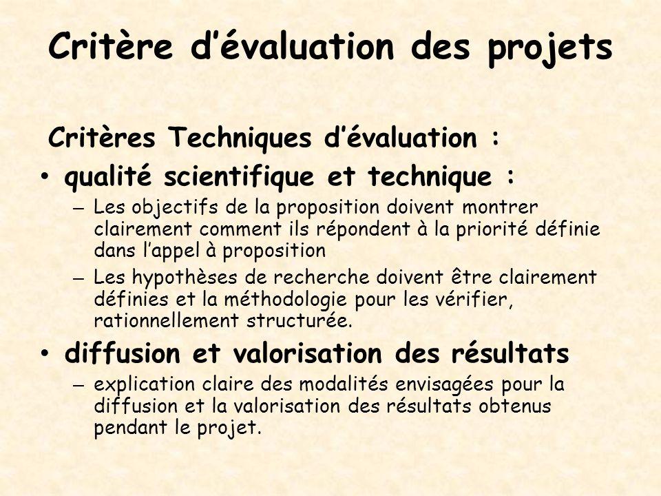 Critère d'évaluation des projets Critères Techniques d'évaluation : qualité scientifique et technique : – Les objectifs de la proposition doivent mont