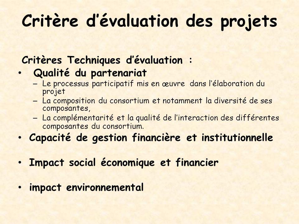 Critère d'évaluation des projets Critères Techniques d'évaluation : Qualité du partenariat – Le processus participatif mis en œuvre dans l'élaboration