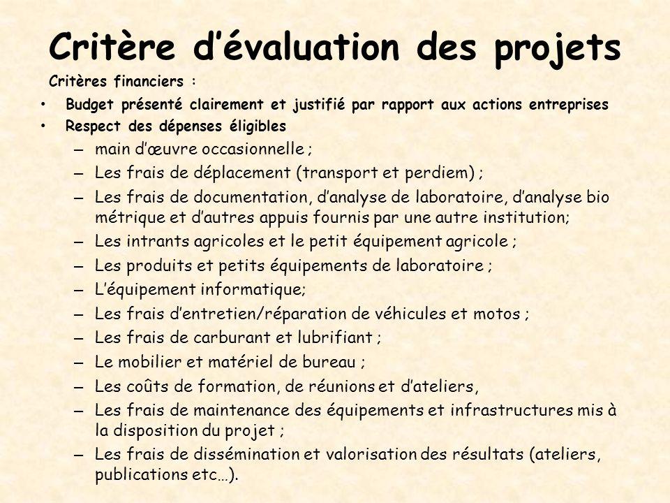 Critère d'évaluation des projets Critères financiers : Budget présenté clairement et justifié par rapport aux actions entreprises Respect des dépenses