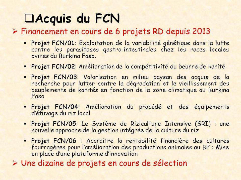  Acquis du FCN  Financement en cours de 6 projets RD depuis 2013  Projet FCN/01: Exploitation de la variabilité génétique dans la lutte contre les