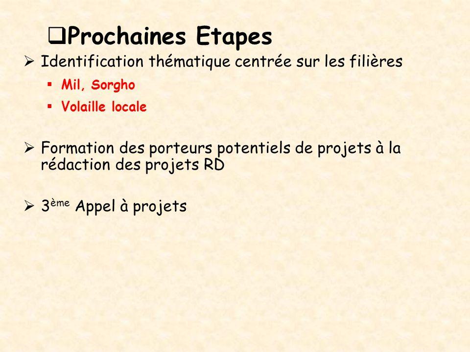  Prochaines Etapes  Identification thématique centrée sur les filières  Mil, Sorgho  Volaille locale  Formation des porteurs potentiels de projet