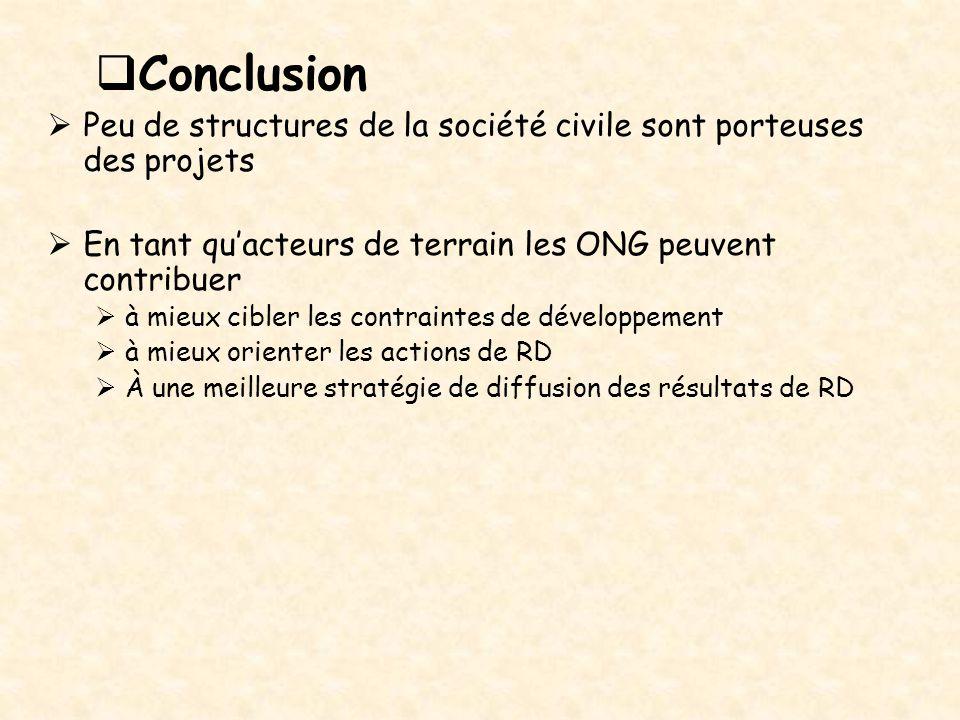  Conclusion  Peu de structures de la société civile sont porteuses des projets  En tant qu'acteurs de terrain les ONG peuvent contribuer  à mieux