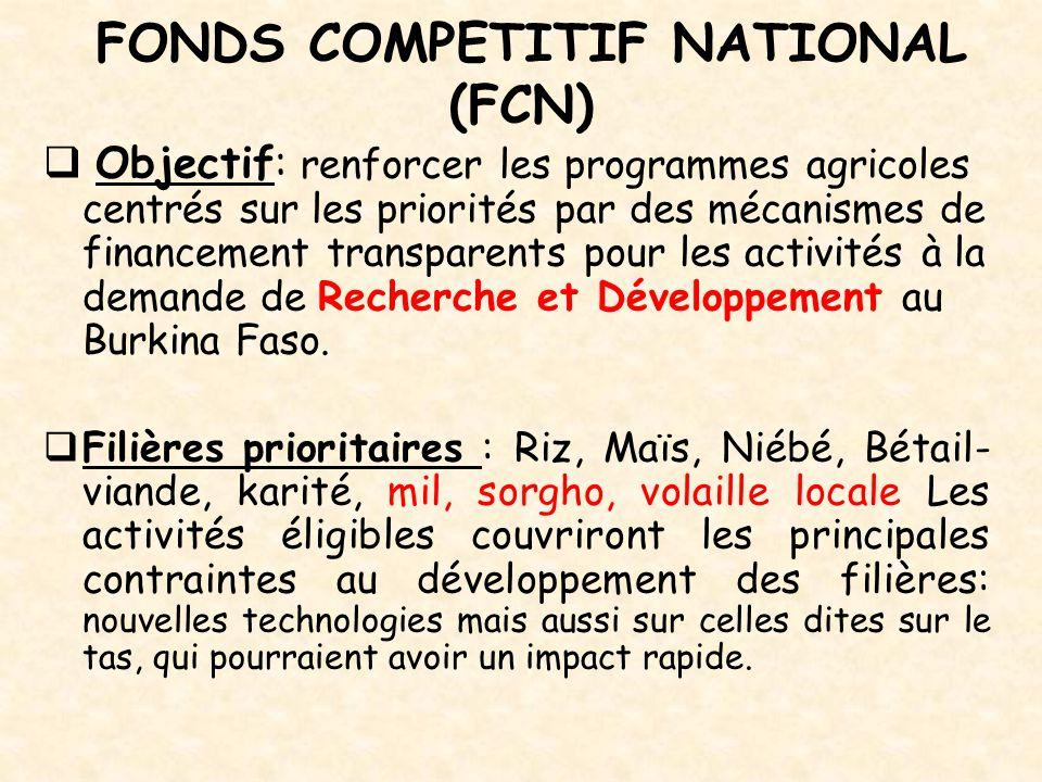 FONDS COMPETITIF NATIONAL (FCN)  Objectif: renforcer les programmes agricoles centrés sur les priorités par des mécanismes de financement transparent
