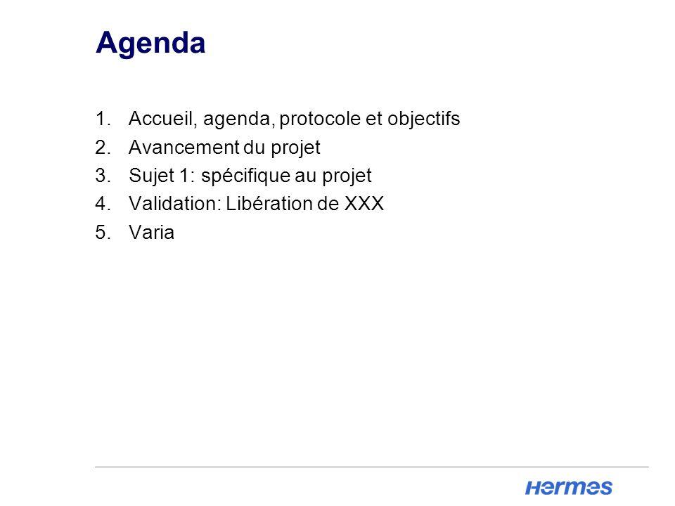 Agenda 1.Accueil, agenda, protocole et objectifs 2.Avancement du projet 3.Sujet 1: spécifique au projet 4.Validation: Libération de XXX 5.Varia