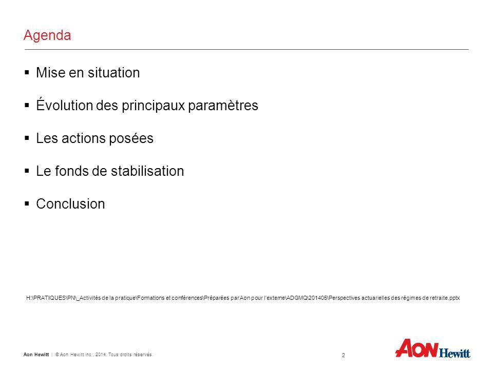 Agenda  Mise en situation  Évolution des principaux paramètres  Les actions posées  Le fonds de stabilisation  Conclusion 2 Aon Hewitt | © Aon Hewitt inc., 2014.