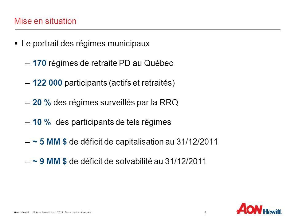 Mise en situation  Le portrait des régimes municipaux –170 régimes de retraite PD au Québec –122 000 participants (actifs et retraités) –20 % des régimes surveillés par la RRQ –10 % des participants de tels régimes –~ 5 MM $ de déficit de capitalisation au 31/12/2011 –~ 9 MM $ de déficit de solvabilité au 31/12/2011 3 Aon Hewitt | © Aon Hewitt inc., 2014.