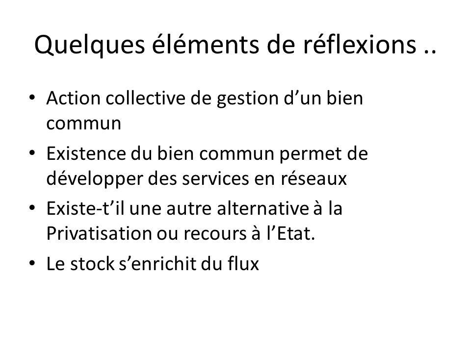 Quelques éléments de réflexions.. Action collective de gestion d'un bien commun Existence du bien commun permet de développer des services en réseaux