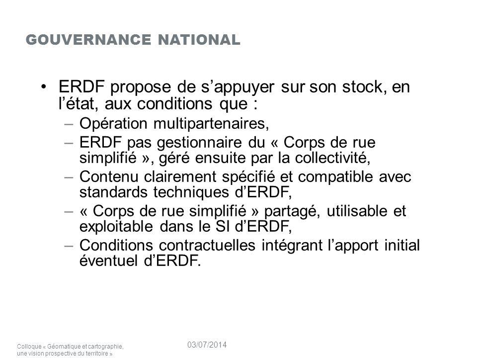 ERDF propose de s'appuyer sur son stock, en l'état, aux conditions que : –Opération multipartenaires, –ERDF pas gestionnaire du « Corps de rue simplifié », géré ensuite par la collectivité, –Contenu clairement spécifié et compatible avec standards techniques d'ERDF, –« Corps de rue simplifié » partagé, utilisable et exploitable dans le SI d'ERDF, –Conditions contractuelles intégrant l'apport initial éventuel d'ERDF.