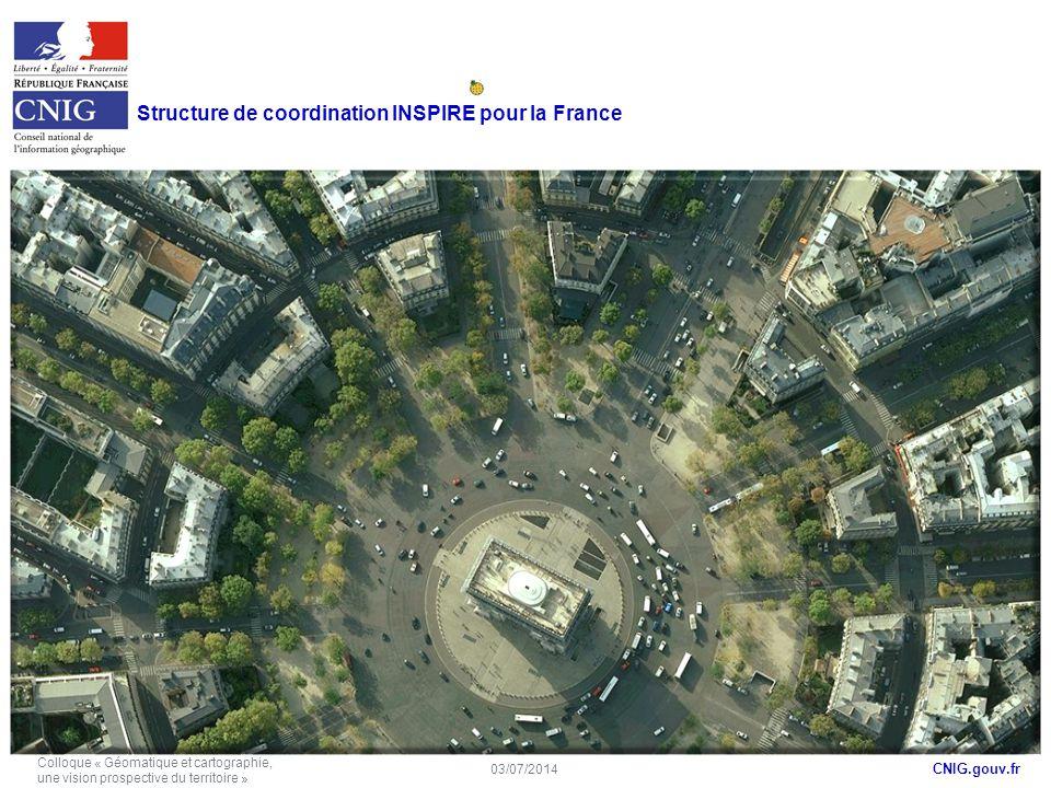 CNIG.gouv.fr Structure de coordination INSPIRE pour la France 03/07/2014 Colloque « Géomatique et cartographie, une vision prospective du territoire »