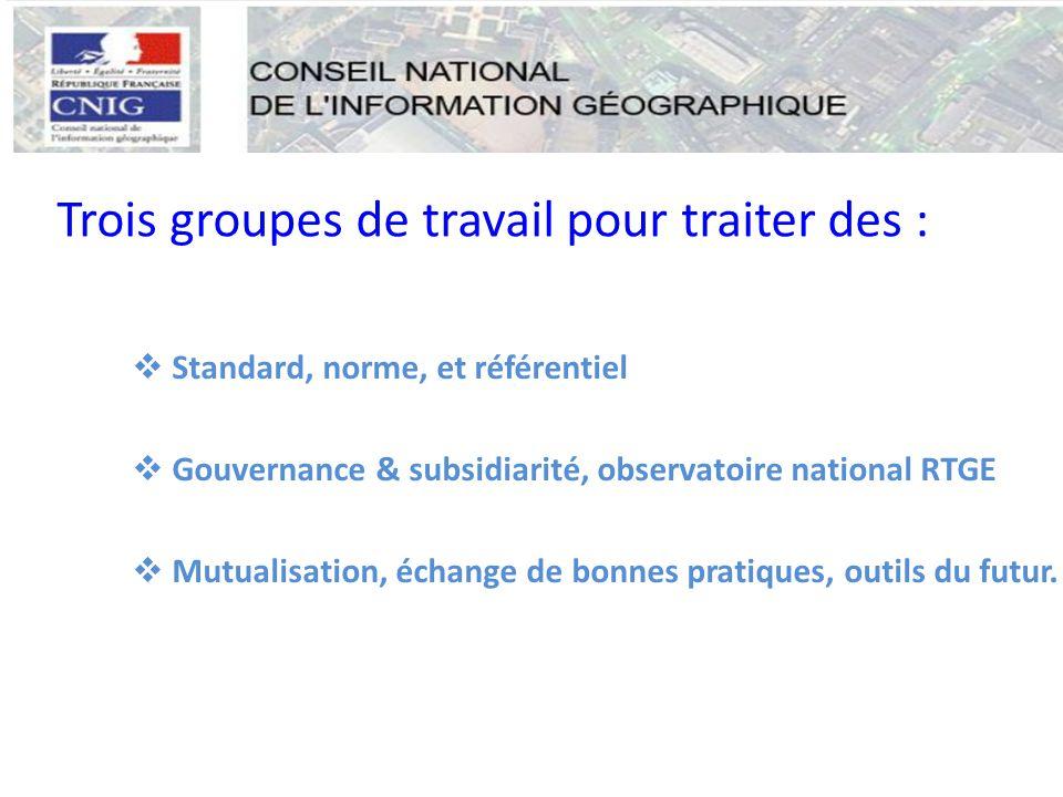  Standard, norme, et référentiel  Gouvernance & subsidiarité, observatoire national RTGE  Mutualisation, échange de bonnes pratiques, outils du futur.