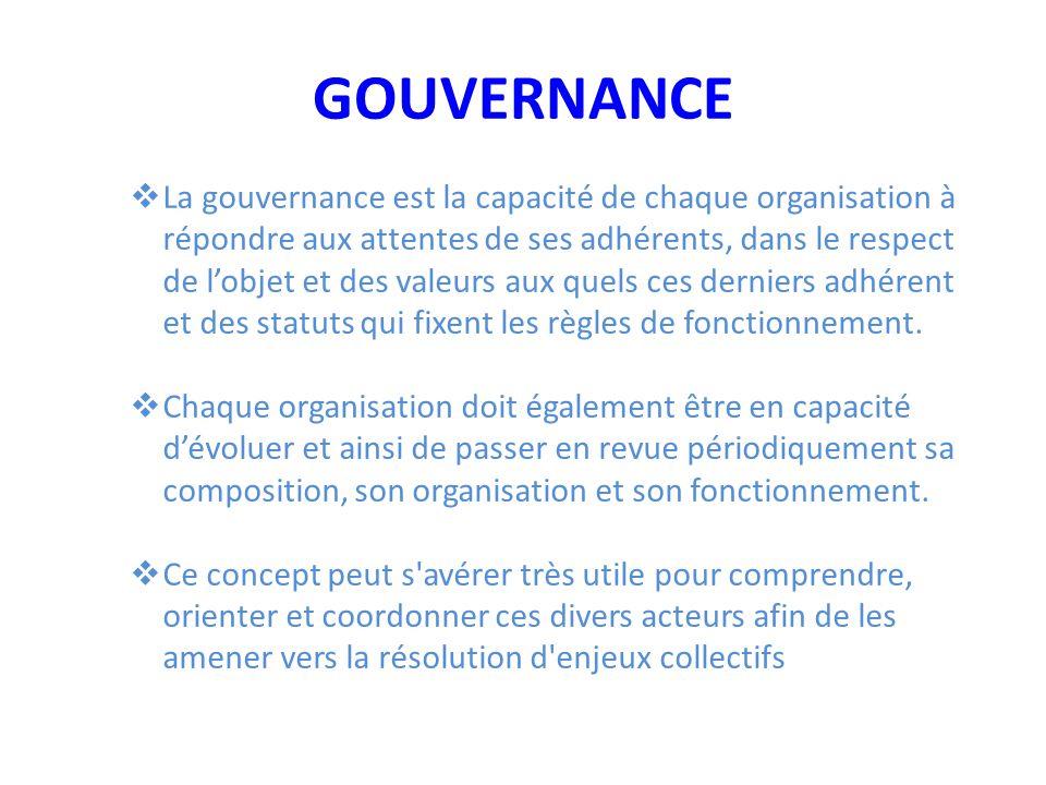 GOUVERNANCE  La gouvernance est la capacité de chaque organisation à répondre aux attentes de ses adhérents, dans le respect de l'objet et des valeurs aux quels ces derniers adhérent et des statuts qui fixent les règles de fonctionnement.