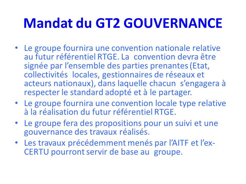 Mandat du GT2 GOUVERNANCE Le groupe fournira une convention nationale relative au futur référentiel RTGE. La convention devra être signée par l'ensemb