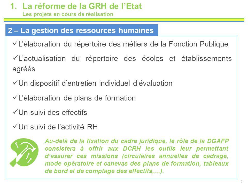 7 1.La réforme de la GRH de l'Etat Les projets en cours de réalisation 2 – La gestion des ressources humaines L'élaboration du répertoire des métiers