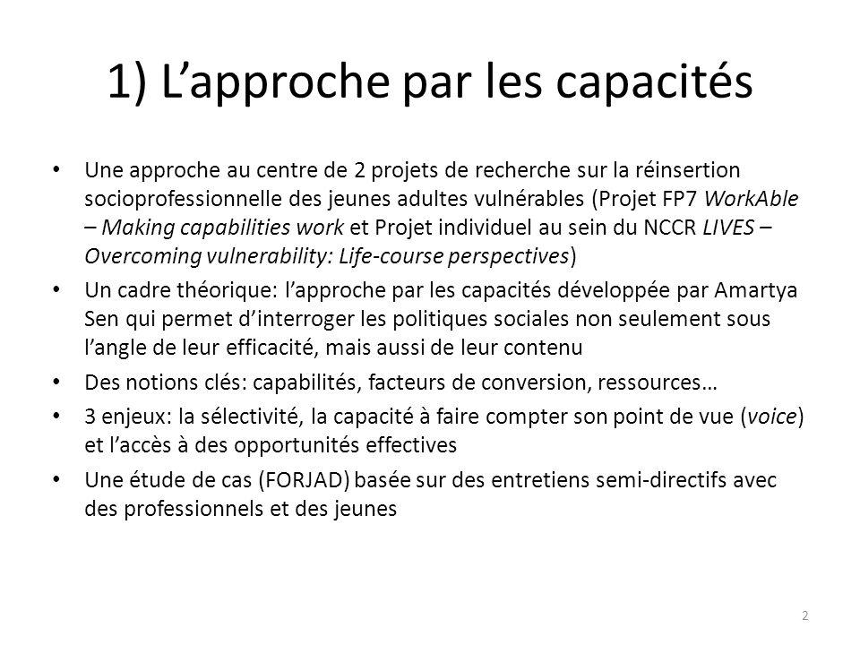 1) L'approche par les capacités Une approche au centre de 2 projets de recherche sur la réinsertion socioprofessionnelle des jeunes adultes vulnérable