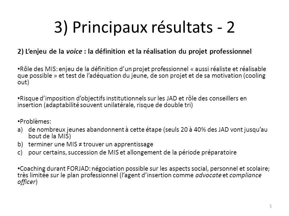3) Principaux résultats - 2 2) L'enjeu de la voice : la définition et la réalisation du projet professionnel Rôle des MIS: enjeu de la définition d'un projet professionnel « aussi réaliste et réalisable que possible » et test de l'adéquation du jeune, de son projet et de sa motivation (cooling out) Risque d'imposition d'objectifs institutionnels sur les JAD et rôle des conseillers en insertion (adaptabilité souvent unilatérale, risque de double tri) Problèmes: a)de nombreux jeunes abandonnent à cette étape (seuls 20 à 40% des JAD vont jusqu'au bout de la MIS) b)terminer une MIS ≠ trouver un apprentissage c)pour certains, succession de MIS et allongement de la période préparatoire Coaching durant FORJAD: négociation possible sur les aspects social, personnel et scolaire; très limitée sur le plan professionnel (l'agent d'insertion comme advocate et compliance officer) 5