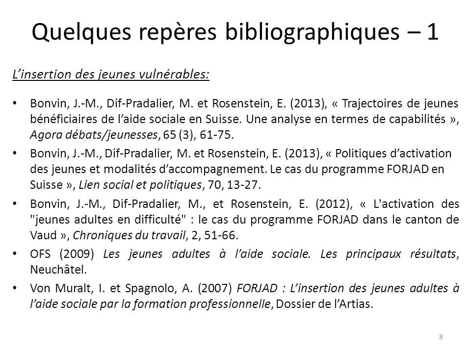 Quelques repères bibliographiques – 1 L'insertion des jeunes vulnérables: Bonvin, J.-M., Dif-Pradalier, M. et Rosenstein, E. (2013), « Trajectoires de
