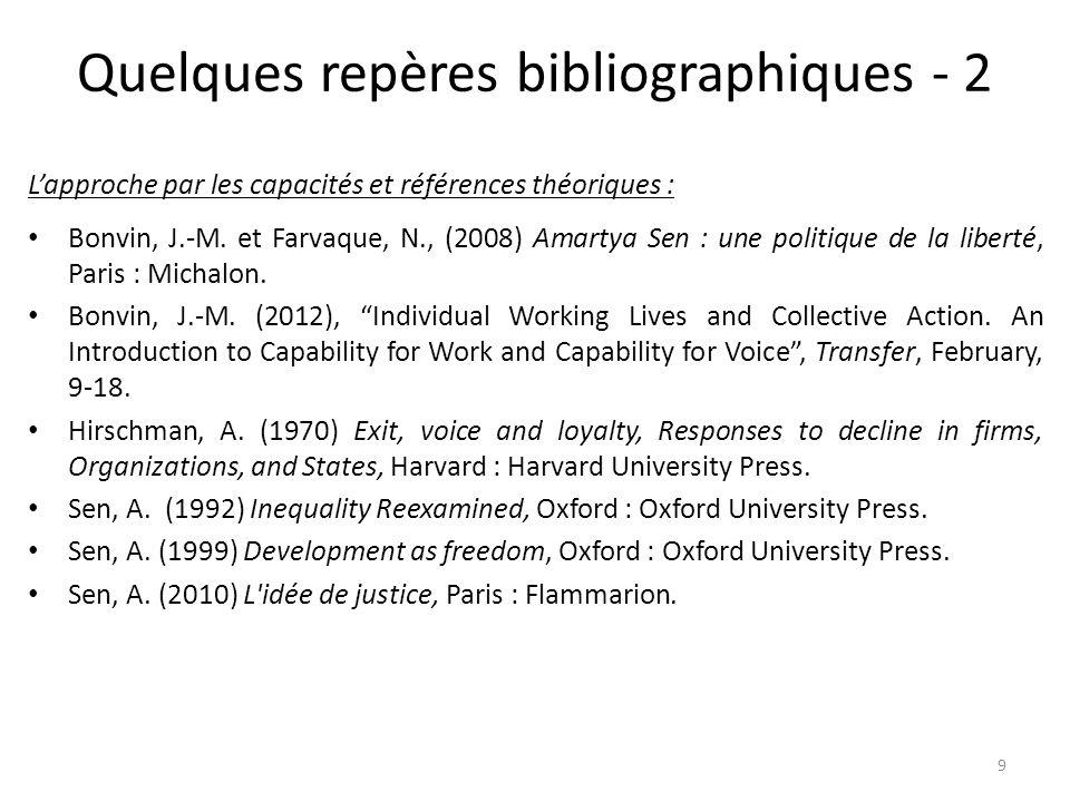 Quelques repères bibliographiques - 2 L'approche par les capacités et références théoriques : Bonvin, J.-M. et Farvaque, N., (2008) Amartya Sen : une