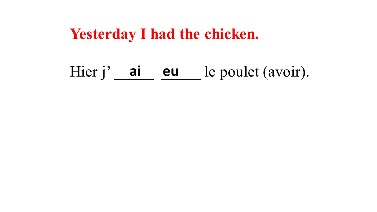Yesterday I had the chicken. Hier j' _____ _____ le poulet (avoir). aieu