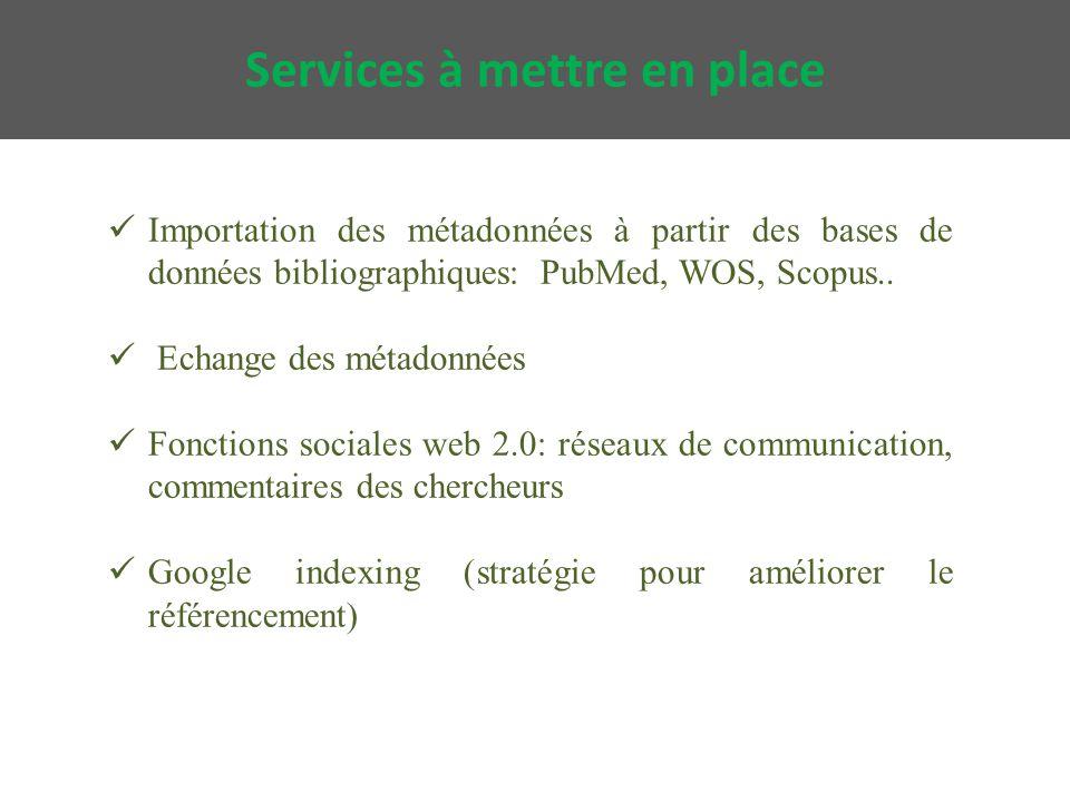 Importation des métadonnées à partir des bases de données bibliographiques: PubMed, WOS, Scopus..